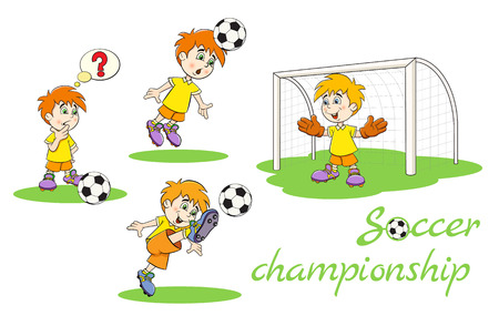 hits: Set of funny cartoon football players. The first reflects a footballer kicking the ball, the second player hits the ball head, the third kicker foot kicks the ball, the goalkeeper is on the gate.