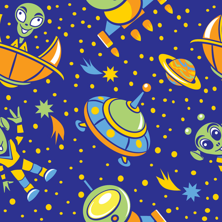space invaders: Seamless pattern with pictures of spaceships, aliens, stars and planets