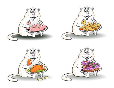 eats: Cartoon funny cat eats sausage, fish, chicken, cake. Vector illustration. Illustration