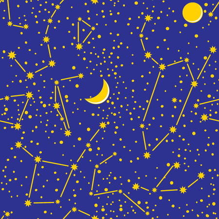 constellations: Seamless pattern with images of cosmic constellations and planets.