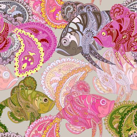 indian fish: Seamless pattern with colored zentangl  doodle fishes. Vintage. Illustration