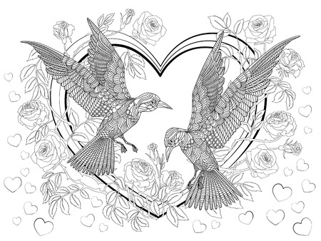 blossoming: Hand drawn birds on the hearts in a branches of a blossoming roses-tree. Coloring page.