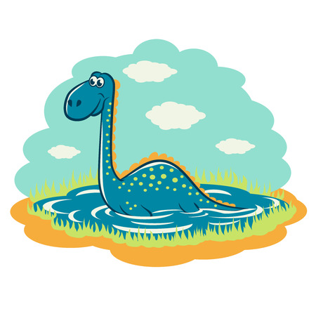 sits: Funny cartoon dinosaur that sits on the lake.