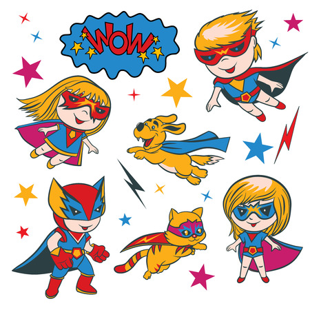 Set of funny cartoon superhero character and elements.