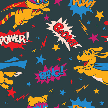super dog: Seamless pattern with funny cartoon cats and dogs superheroes and superhero elements.