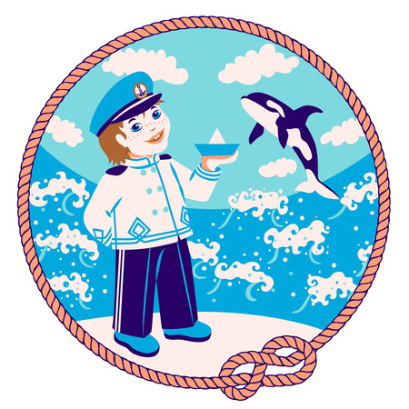 killer whale: Print - funny cartoon captain-sailor with paper boat on the background of the sea, clouds and killer whale