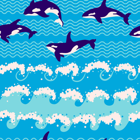 and marine life: Seamless pattern - marine life of whale-killer in waves.
