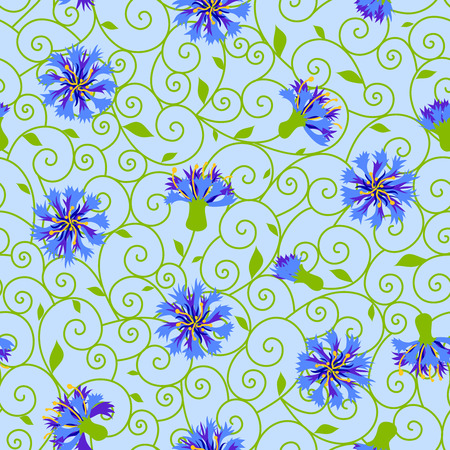cornflowers: Seamless pattern with  cornflowers.