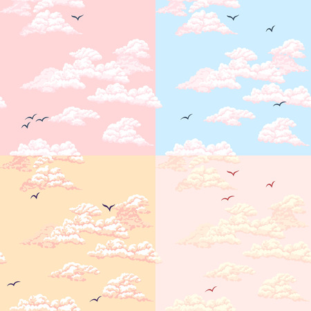 seamless sky: Seamless pattern. Sky, clouds, birds.
