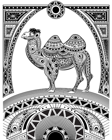 nomad: Stylized vector camel, zentangle isolated  for relax and meditation. Collection of animals for your design. Vector pattern black and white illustration can be used for coloring book pages for kids and adults.