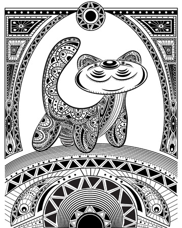 nomad: Stylized vector cat, zentangle isolated for relax and meditation. Collection of animals for your design. Vector pattern black and white illustration can be used for coloring book pages for kids and adults.