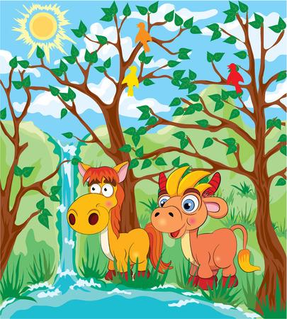 fanny: Cartoon fanny horse and shanny near the river a bright sunny day. Illustration