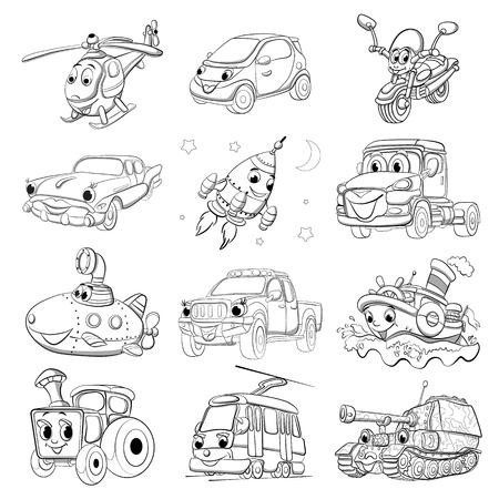 Set of fanny cartoon transport. Coloring book. Illustration