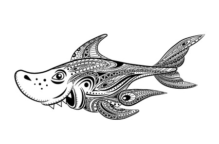 fanny: Coloring book for adult. Fanny cartoon shark.