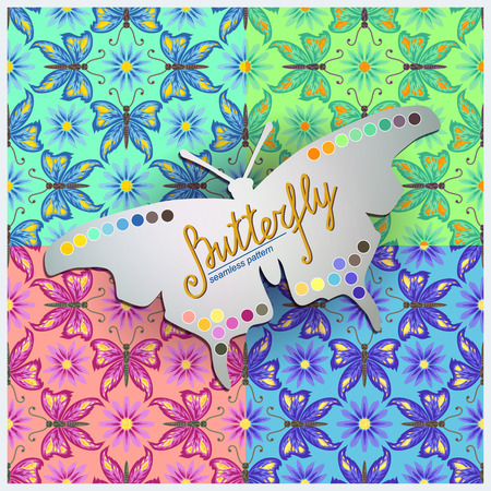 color samples: Four Seamless vector geometric pattern with  butterfly and flowers. Showing color samples, which are used in the patterns.