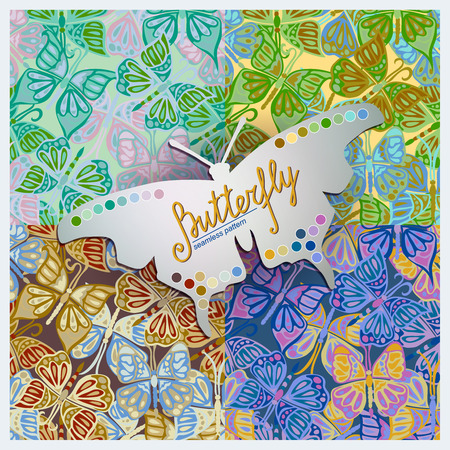 color samples: Four Seamless vector  pattern with  butterfly. Showing color samples, which are used in the patterns. Illustration