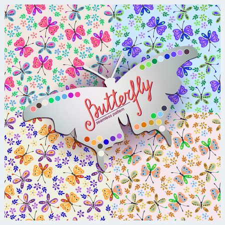 color samples: Four Seamless vector  pattern with  butterfly and flowers. Showing color samples, which are used in the patterns.