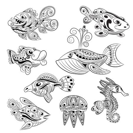 Kleurplaten Van Onderwaterdieren.Hand Getrokken Vis Stress Kleurplaat Met Hoge Details Geisoleerd Op