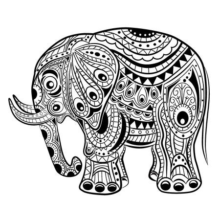 Elephant On White Background Freehand Sketch For Adult Anti Stress ...