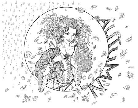 Dibujo Para Colorear Para Los Adultos Con Chica De Otoño, Las Hojas ...