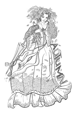 Coloring page for adults with girl-autumn, leaves and bird.
