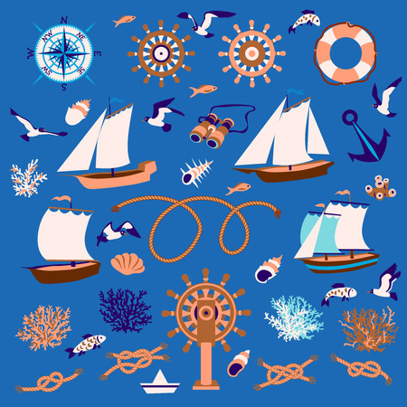lifeline: Nautical cartoon set: sailboats, fish, seagull, coral, wind rose, steering wheel, lifeline, binoculars, shell, knots Illustration