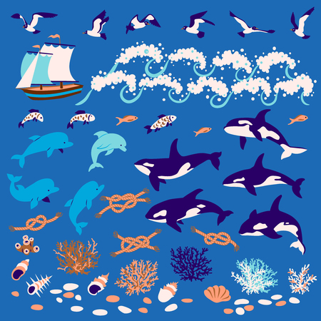 Nautical cartoon set: Dolphins, whales-killers, fish, seagull, coral, shell, knots