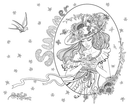 Coloring page for adults with girl-summer, flowers, birds and butterflies.