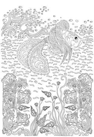 color pages: Hand drawn humpback fish in the waves and with seaweed stress Coloring Page with high details, isolated on pattern background, illustration in zentangle style.