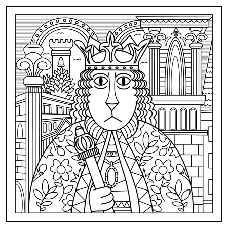 cat suit: Cat in the image of the king, dressed in medieval costume and mantle. At the head of a cat wearing a crown and holding a scepter in his hand. Coloring book