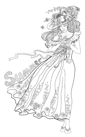 Coloring page for adults with girl-summer, flowers and butterflies.