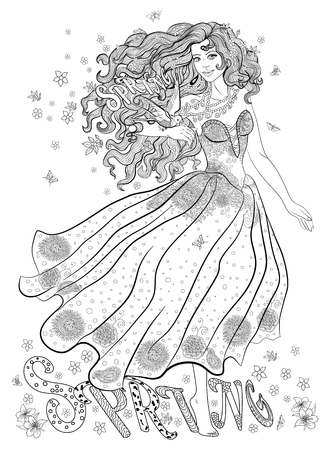 Coloring page for adults with girl-spring, flowers and bird.