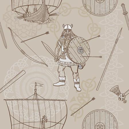 drakkar: Seamless pattern Viking life. Man Viking, rowing boat, sword, helmet, ax, spear, bow, arrows, shield, pattern, ornament. Sketch. Vector illustration.