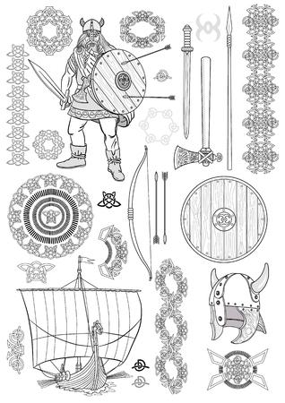 Establecer vida de los vikingos. Hombre de Viking, barco con remos, espada, casco, hacha, lanza, arco, flechas, escudo, patrón, ornamento. Bosquejo. Ilustración del vector.