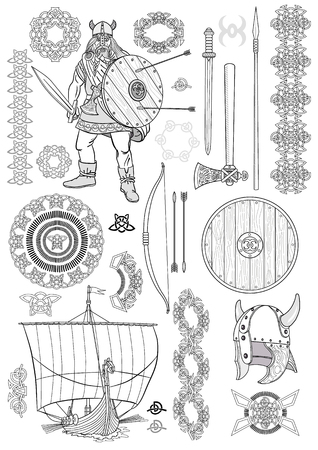 Set Viking life. Man Viking, rowing boat, sword, helmet, ax, spear, bow, arrows, shield, pattern, ornament. Sketch. Vector illustration.