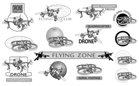 footage: Vector set of drone flying club labels, badges and design elements Illustration