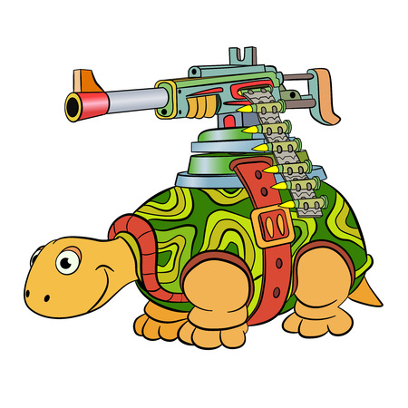 fatigues: Cartoon fanny fighting Turtle in camouflage fatigues with machine gun mount on the shell.