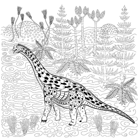 antistress: Diplodocus - prehistoric reptile in nature. Antistress Coloring Book for adults.
