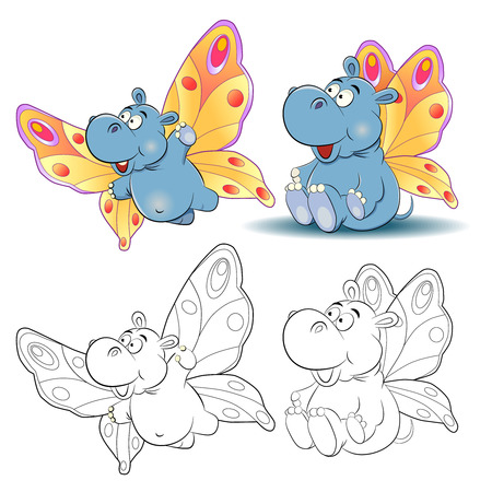 behemoth: Funny cartoon hippo image of a butterfly. Sitting and flying. Coloring book. Illustration