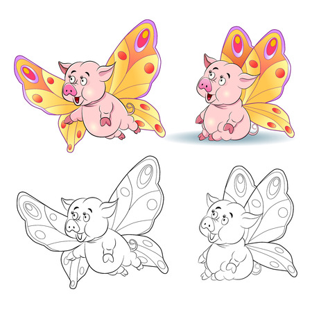 pigling: Funny cartoon piggy image of a butterfly. Sitting and flying. Coloring book. Illustration