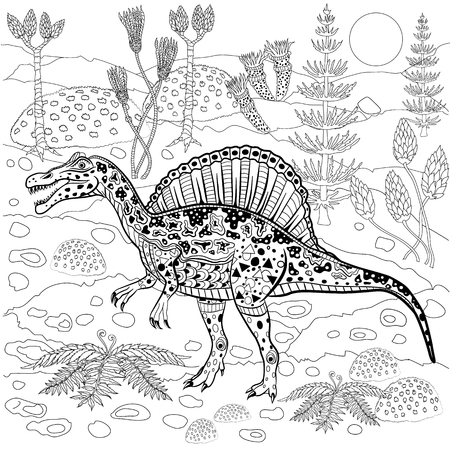 fern  large fern: Spinosaurus - prehistoric reptile in nature. Antistress Coloring Book for adults. Illustration