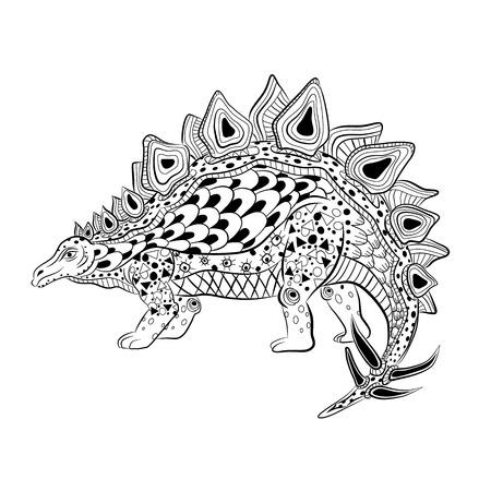 Stegosaurus - prehistoric reptile. Antistress Coloring Book for adults.
