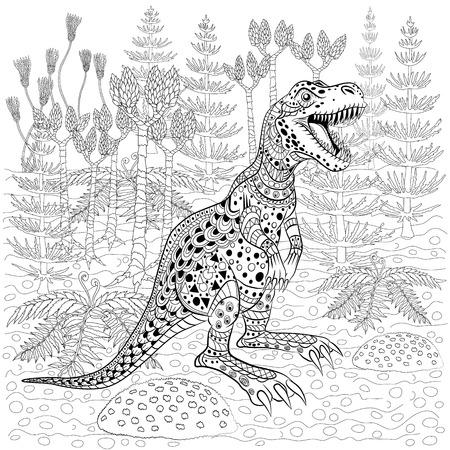 tyrannosaur: Tyrannosaur -  prehistoric lizard in nature. Antistress Coloring Book for adults.