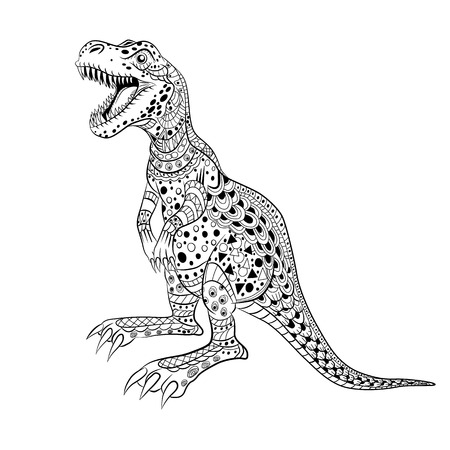Tyrannosaur -  prehistoric lizard. Antistress Coloring Book for adults.
