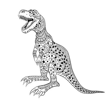tyrannosaur: Tyrannosaur -  prehistoric lizard. Antistress Coloring Book for adults.