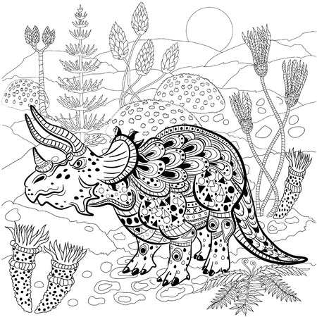 triceratops: Triceratops - prehistoric reptile in nature. Antistress Coloring Book for adults. Illustration
