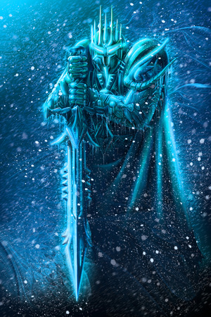 Illustration of ice warrior with a weapon. Stock Photo