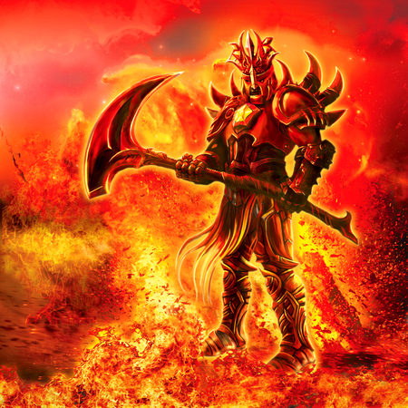 Illustration of a fiery warrior with a weapon. Stock Photo