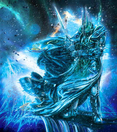Ilustración de guerrero de hielo con un arma. Foto de archivo