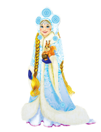 Snow Maiden Girl in the headdress and a long snowy dress. In her hands squirrel. White beckground.